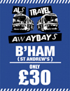 Return Coach to Birmingham (Date 30/01/18 DEP 1PM)