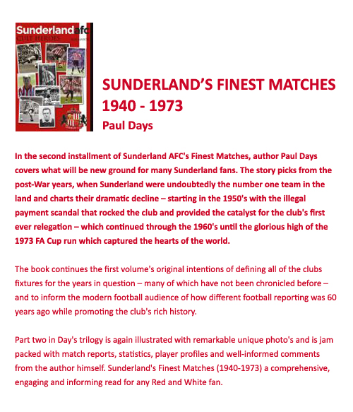 Sunderland's Finest Matches 2 (1940-1973) By Paul Days - Click Image to Close